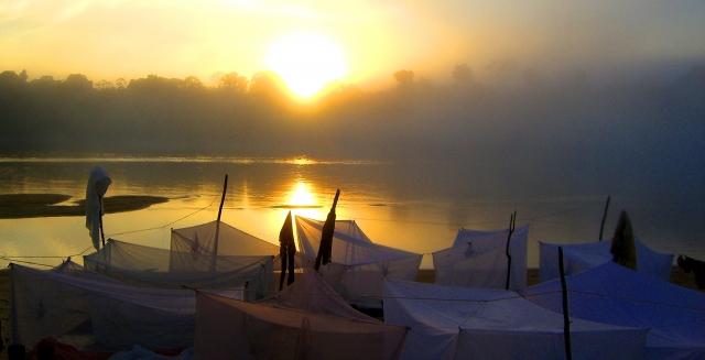 Hammocks on an Amazon River Beach, Palmari Nature Reserve